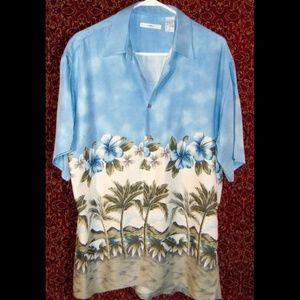 CAMPIA MODA blue Hawaiian floral shirt M